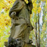socha sv. Prokopa drtící nohou čerta v Chotouni