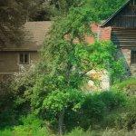vodník sedící před starým mlýnem na břehu Vltavy