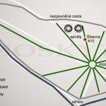 plánek parku s klasicistní úpravou a polohou spirál