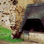 studna přilepená na plášťovou zeď za kterou je jezírko